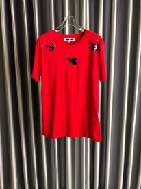 Alexander McQueen women's short-sleeved T-shirt with a hand-stitched front featuring three flying swallows