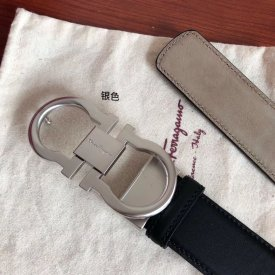 Ferragamo man 3.5cm delicate double loop metal clip, head layer leather frosted inner belt