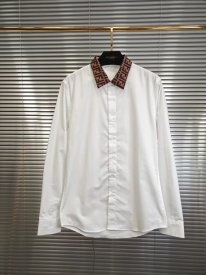 Fendi 19SS new  Contrast collar jacquard FF Patterned white cotton poplin shirt
