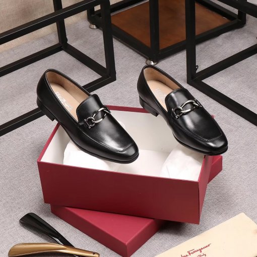 Ferragamo's new business shoes, imported from Italy, are made of faux calfskin and crocodile leather