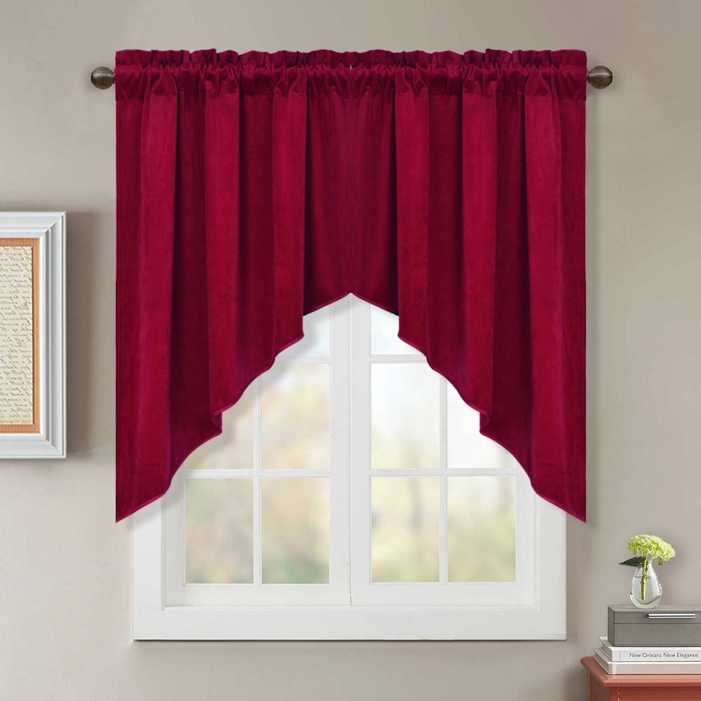 Swag Curtains for Kitchen - Short Blackout Window Treatment Velvet  Scalloped Tier Curtains / Valance Elegant Home Decor Drapes for Bedroom /  ...