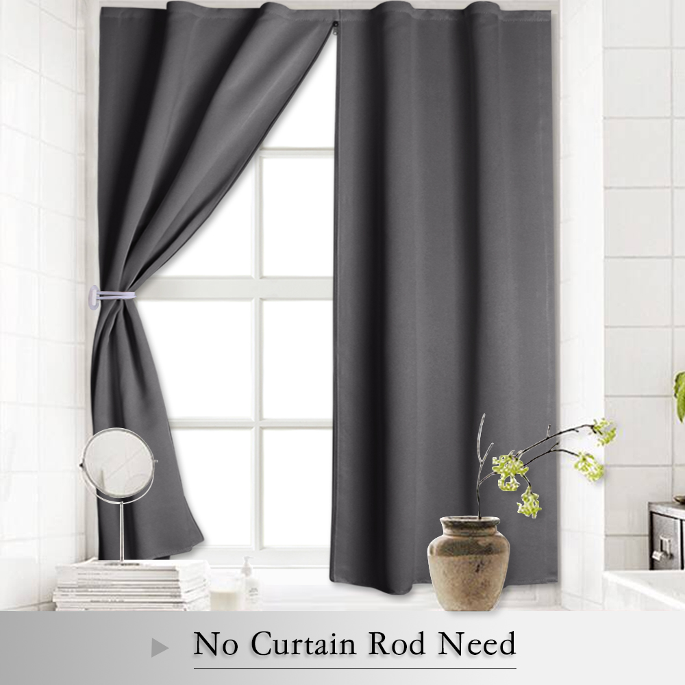 Us 19 99 Blackout Curtain Shades Window Blind Insulated Panels With Zipper Free Velcro Strap No Rod Need For Bedroom Kitchen