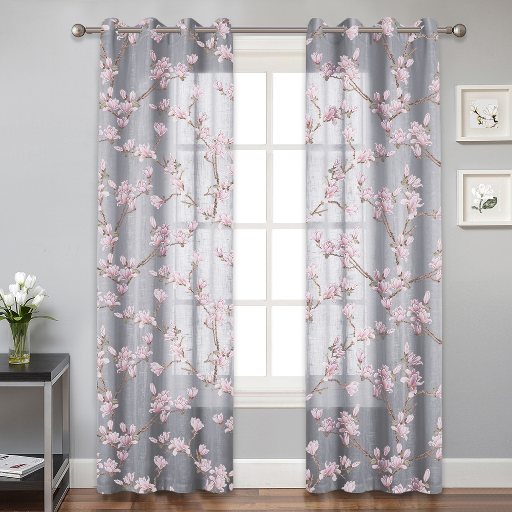 Botanical Sheer Curtain - Farmhouse Floral Print Window Voile Panel for Sliding Door, Brighten Living Room Dinning Engagement,Sold as 1 Panel