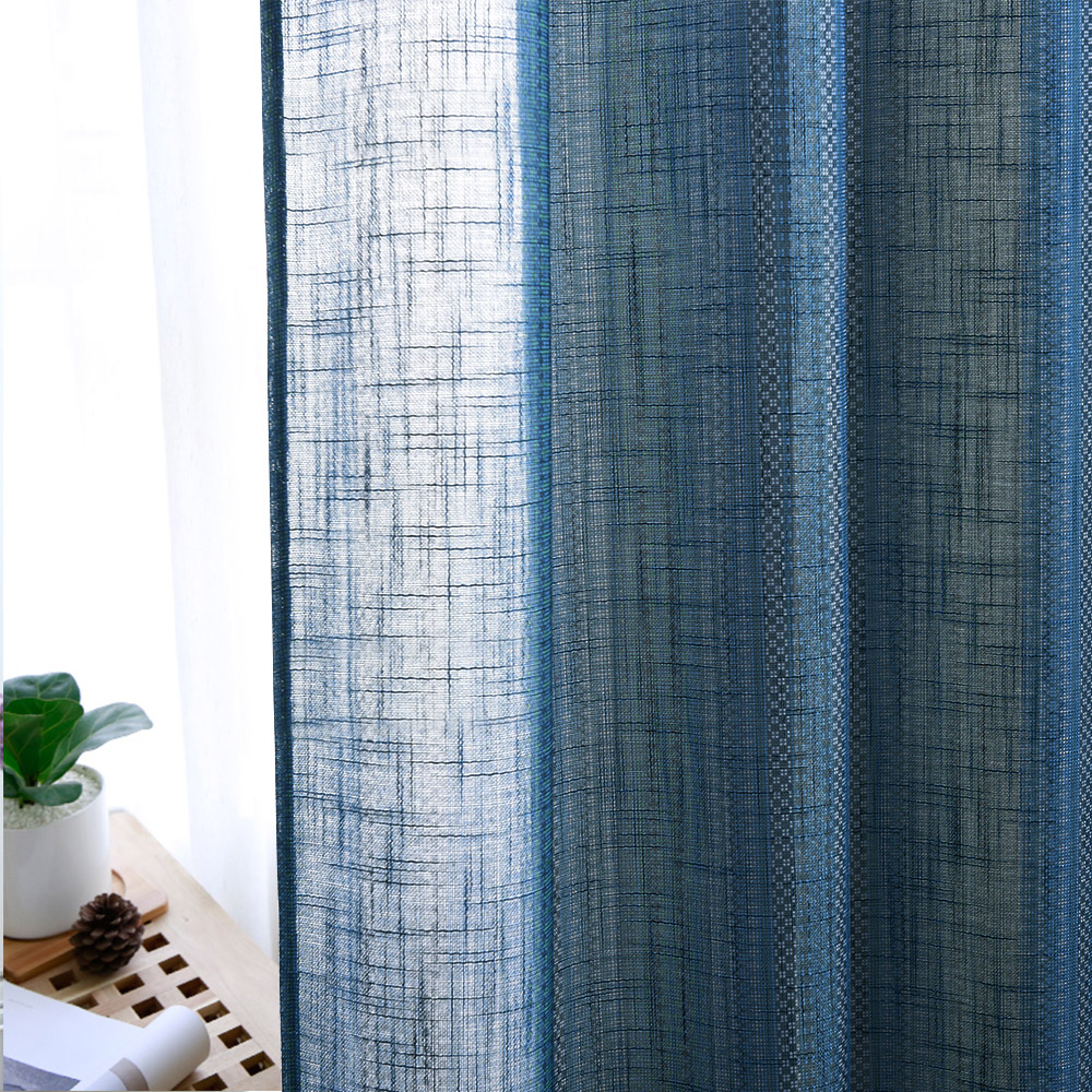 Bohemia Striped Semi Sheer Curtain - Linen Texture Wave Voile Bedroom Window Curtain Privacy Morden Panels for Home Office Dining Apartment Foyer,Sold as 1 Panel