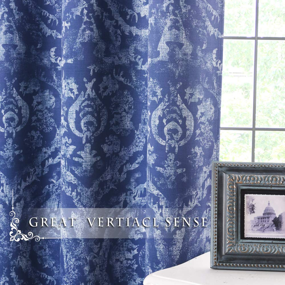 Distressed Texture Print Curtain - Decorative Vintage Damask with Faux Linen Pattern Room Darkening Window Draperies for Nursery/Kids Room, Sold as 1 Panel