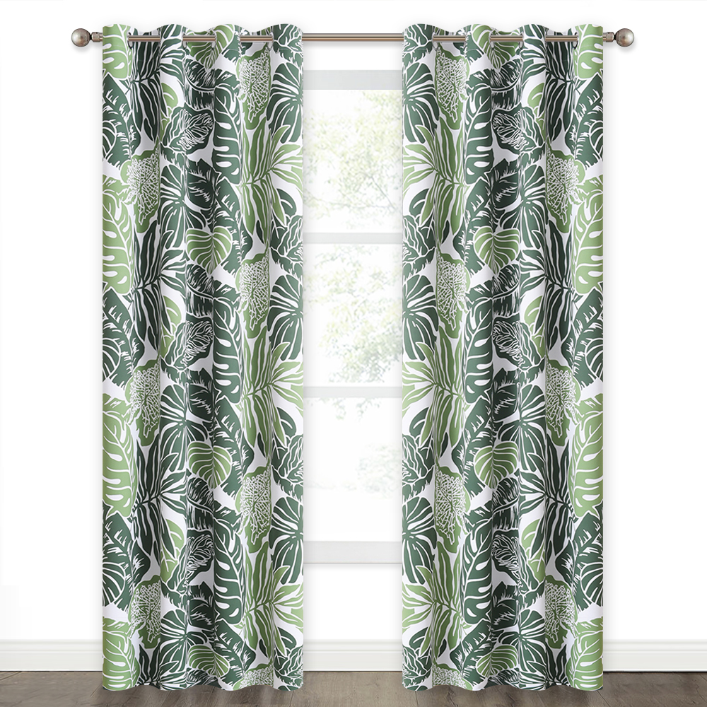 Blackout Banana Leaves Pattern Print Curtain, Sold as 1 Panel