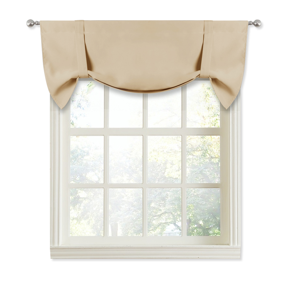 Balloon Valance For Kitchen Windows - Small Window Valance Tie Up Shade Privacy Curtain Blackout Rod Pocket Drape, Sold As 1 Panel