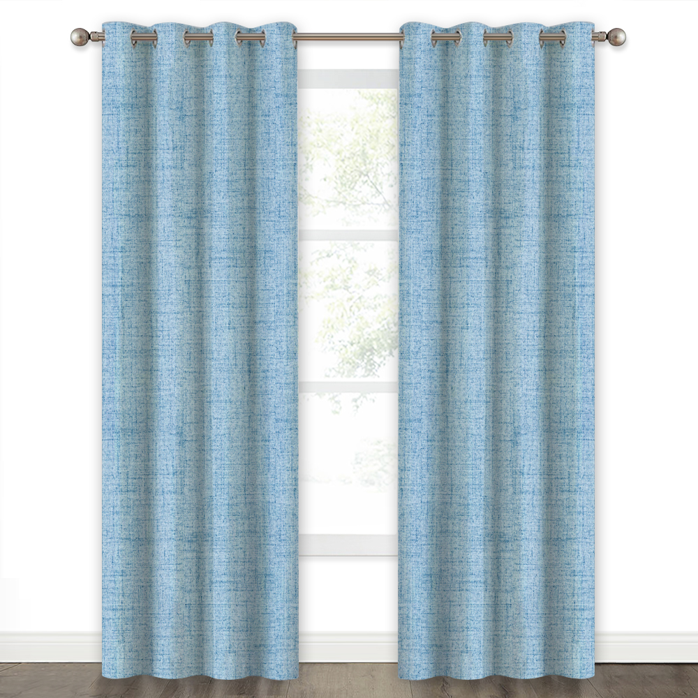 Country Style Faux Linen Knitting Pattern 100% Blackout Grommet Window Curtains, Linen Texture Printed Panels for Living Room/Bedroom