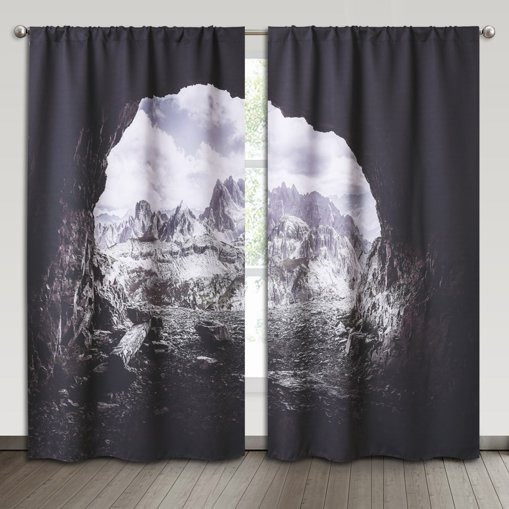 Bedroom Blackout Curtain - Natural Cave Grotto Mountain Landscape Decor Outdoor Photo Art Window Treatment Panel for Student School Dorm Office Sun Room, Sold as 2 Panels