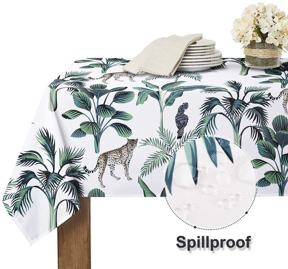 Country Tablecloth Print Pastoral Leaf Vitality Animal Pattern Wrinkle Free Spillproof Washable Table Cover