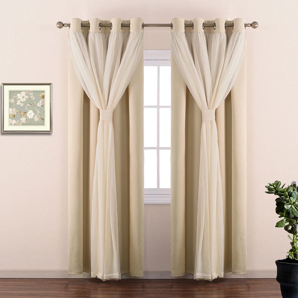 2 Layers Mix & Match Elegance Crinkled Voile & Blackout Curtain Panel with Free Tie-Backs, Home Decor Window Drape