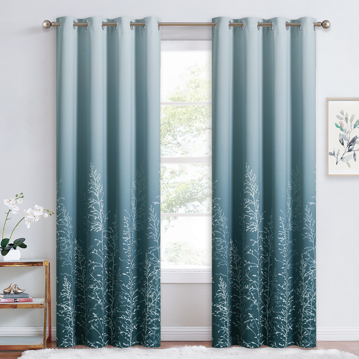 Branch Pattern Room Darkening Curtains, Sold as 1 Panel