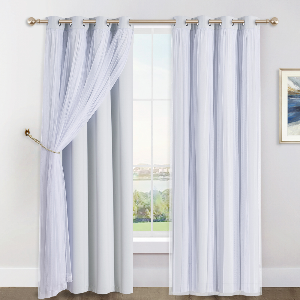 2 Layers Mix & Match Elegance Gauze & Blackout Curtain Panel with Free Rope
