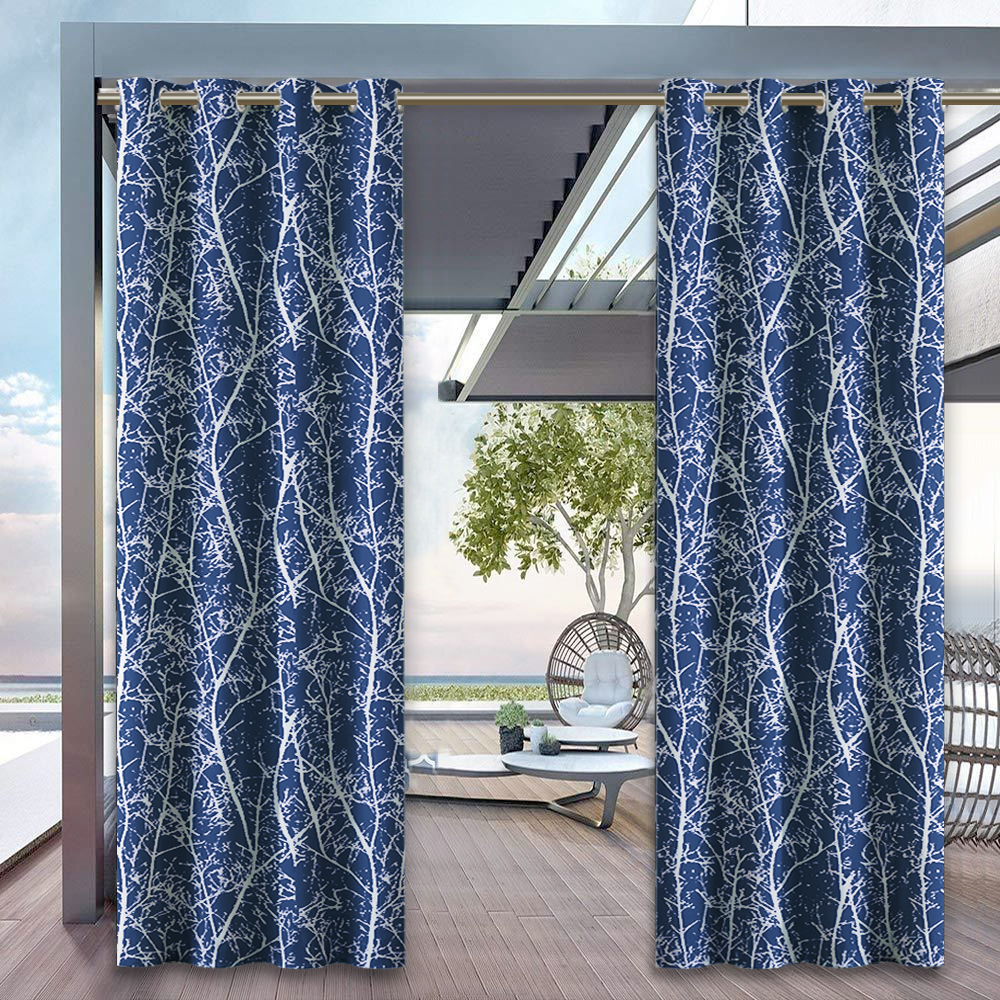Branches Waterproof Outdoor Curtain,Sold as 1 Panel