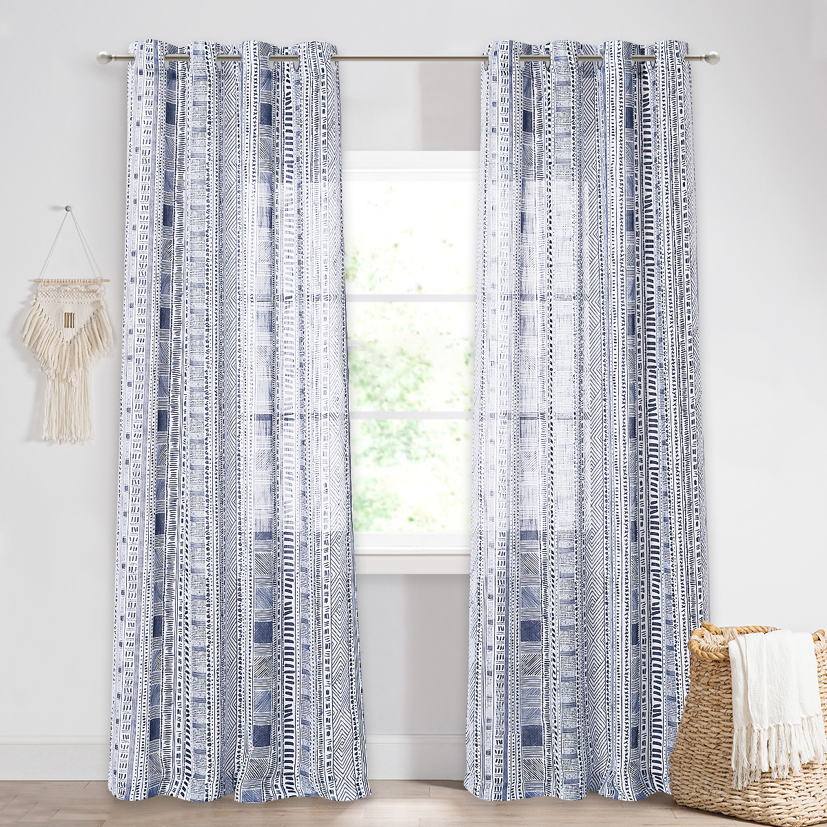 Bohemia Linen Textured Sheer Curtain,Sold as 1 Panel