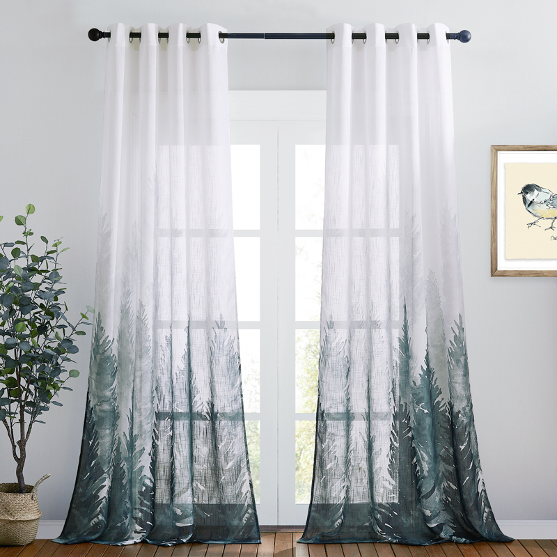 Deep Forest Linen Textured Sheer Curtain,Sold as 1 Panel
