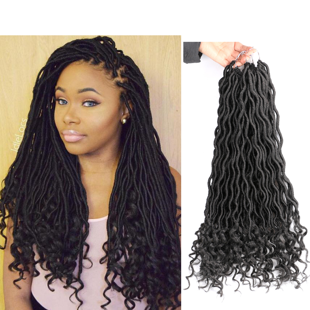 DAIRESS 20Inches 24Stands Curly Faux Locs Crochet Hair Deep Wave Braiding  Hair With Curly Ends Crochet Goddess Locs Synthetic Braids Hair Extensions