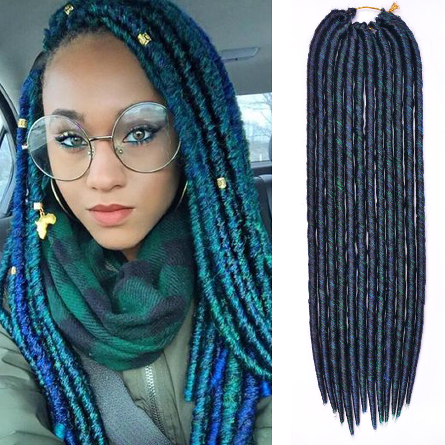 Us 699 Dairess 18 Inches 12roots Mix Color Blue Green Faux Locs