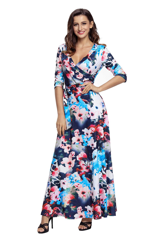 a49a60f70ca3 Dark Floral Print Wrapped Long Boho Dress. Loading zoom