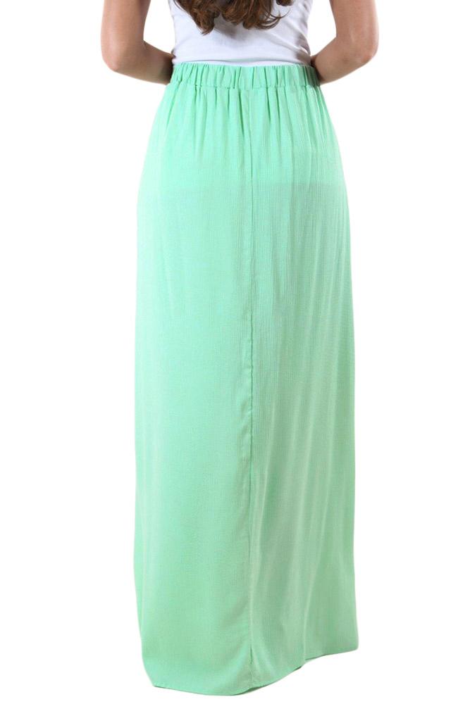 754c4d3954 Peachy Pink Elastic Waist Pleated Gauze Maxi Skirt with Lining
