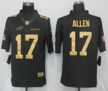 New Nike Buffalo Bills 17 Allen Gold Anthracite Salute To Service Limited Jersey