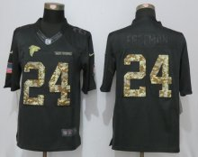 New Nike Atlanta Falcons 24 Freeman Anthracite Salute To Service Limited Jersey