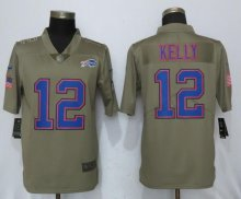 New Nike Buffalo Bills 12 Kelly Olive Salute To Service Limited Jersey