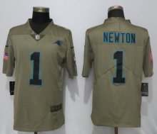Nike Carolina Panthers 1 Newton Olive Salute To Service Limited Jersey