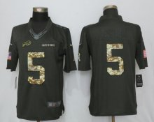 New Nike Buffalo Bills 5 Taylor Anthracite Salute To Service Limited Jersey