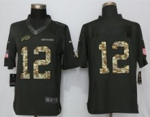 New Nike Buffalo Bills 12 Kelly Anthracite Salute To Service Limited Jersey