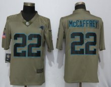 Nike Carolina Panthers 22 McCaffrey Olive Salute To Service Limited Jersey