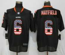 New Nike Cleveland Browns 6 Mayfield USA Flag Fashion Black Elite Jerseys