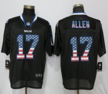 New Nike Buffalo Bills 17 Allen USA Flag Fashion Black Elite Jerseys