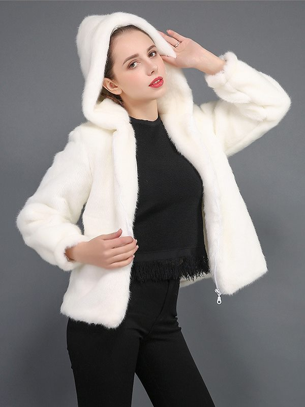 a3ba9821f Womens Faux Fur Coat Winter Thick Warm Hooded Solid Color Fake Faux Rex  Rabbit Fur Jacket