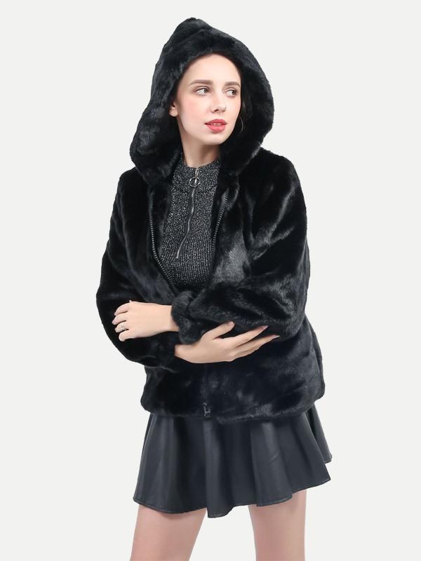 ffac03497f5 Vinfemass Black Hooded Plus Size Thick Faux Rex Rabbit Fur Coat Item NO   FCT0020-2