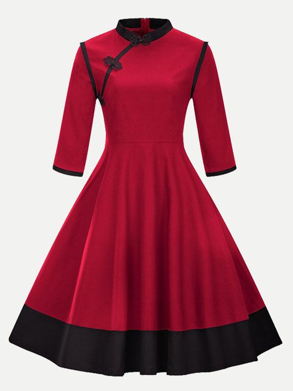 Vinfemass Stand Collar Buttonhole Loop Plus Size Color Block Patchwork  Skater Dress