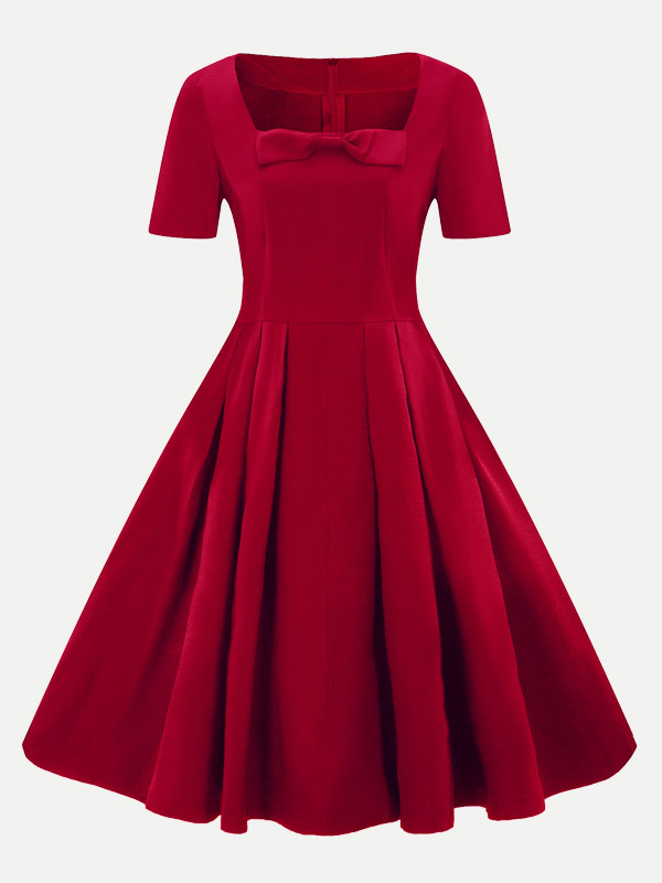 Vinfemass Square Collar Bowknot Front Plus Size Skater Dress