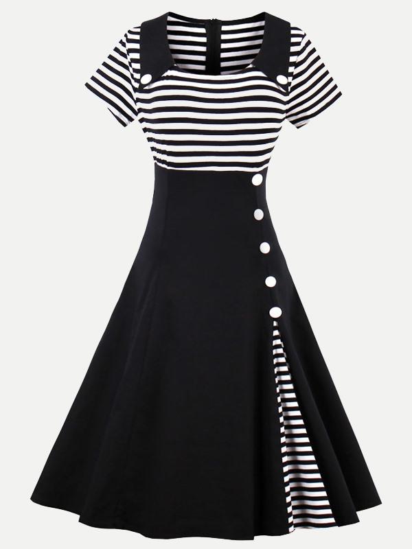 Vinfemass Square Collar Stripe Printing Plus Size Skater Dress