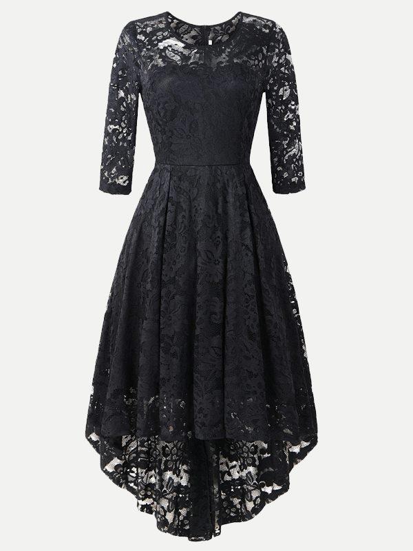41d1273eb1b81 Vinfemass Elegant Irregular Hem Lace Party Skater Dress. Loading zoom
