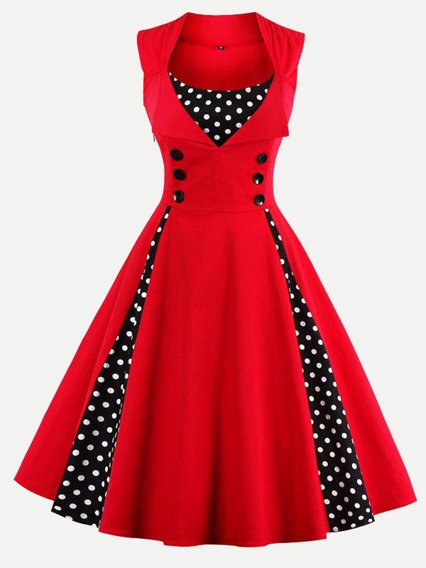 Vinfemass Retro Square Collar Polka Dots Printed Patchwork Buttons Decor  Plus Size Skater Dress