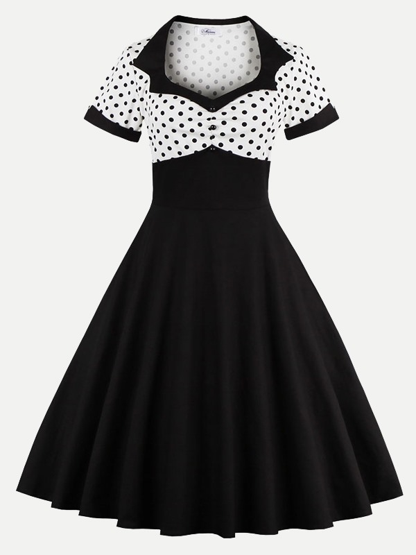 Vinfemass Square Collar Polka Dots Printed Patchwork Plus Size Skater Dress