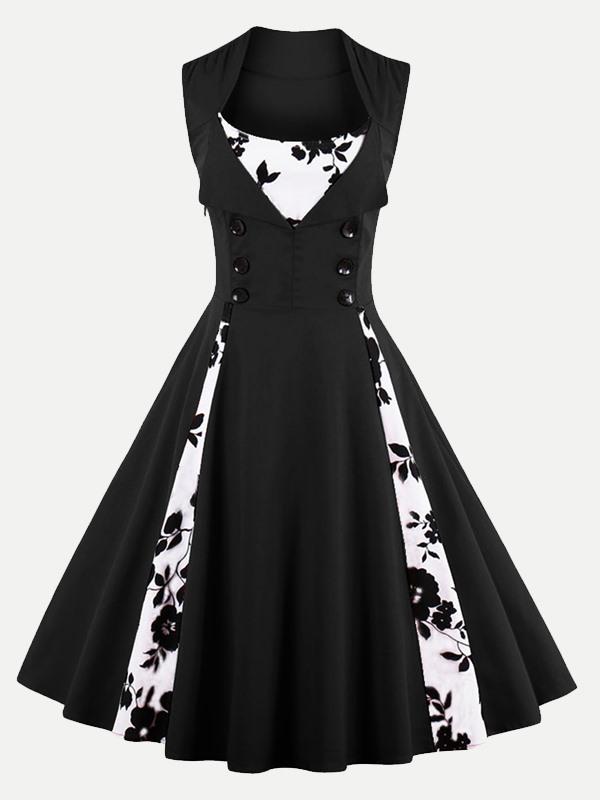 Vinfemass Square Collar Floral Printing Patchwork Buttons Decor Plus Size  Skater Dress