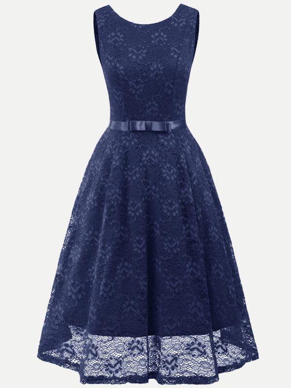 f0e99d2e8dfd Vintage Sleeveless Lace Belted Party Skater Dress - Vinfemass