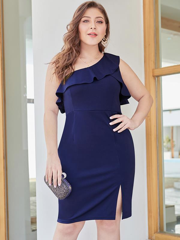 Plus Size Navy One Shoulder Solid Bodycon Dress