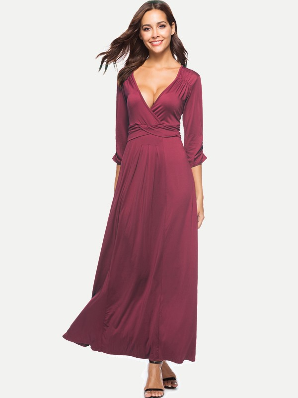 Solid Pleated Plus Size Long Maxi Dress
