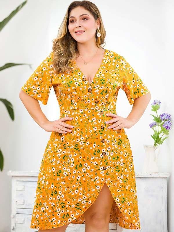 Plus Size V Neck Floral Print Boho Short Dress