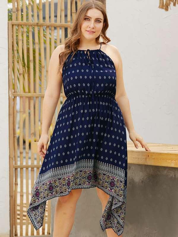 Plus Size Halter Print Irregular Beach Dress