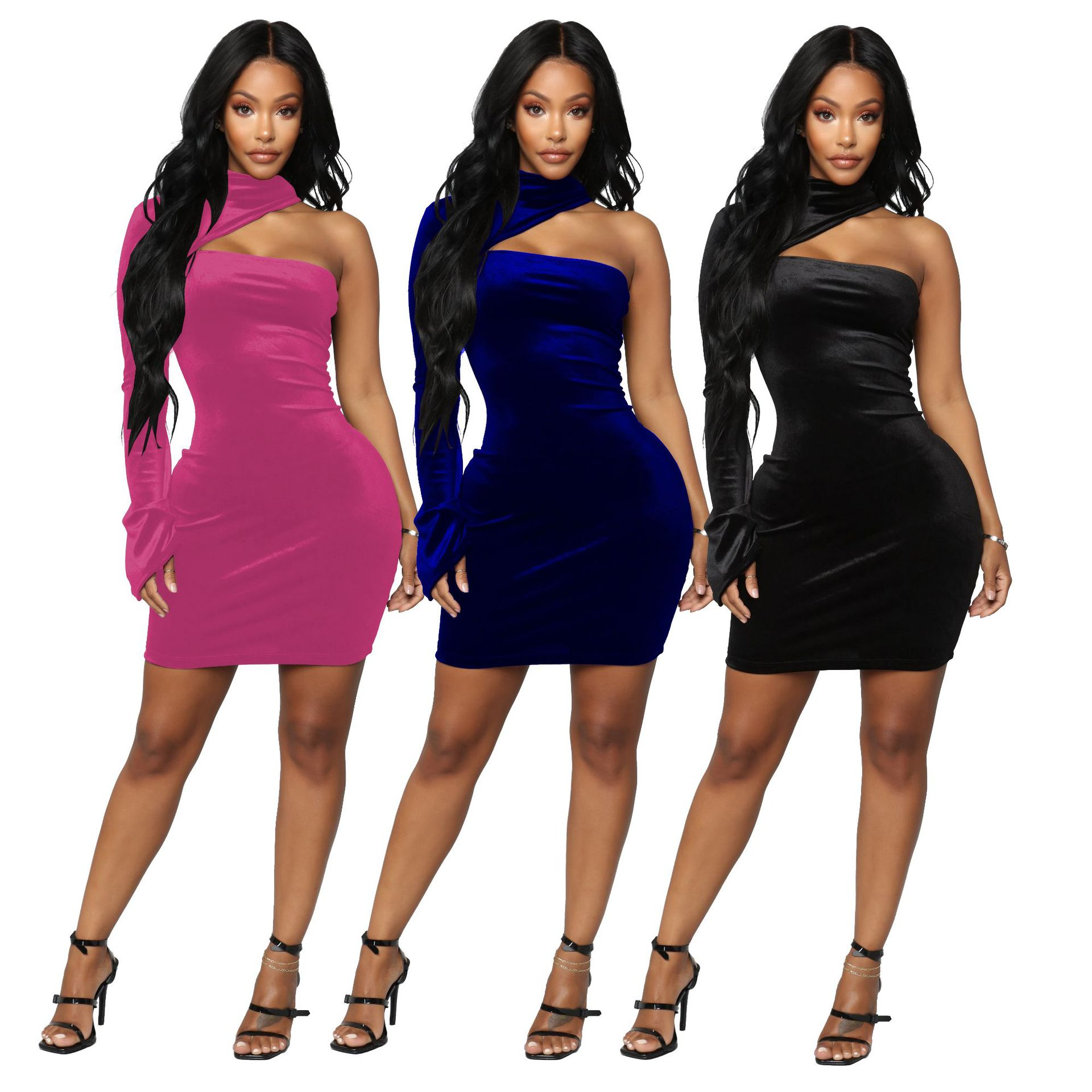 US  12.48 - Women One Shoulder Bodycon Solid Color Velvet Club Party  Evening Mini Dress - www.trystbeautiful.com 854f4062af