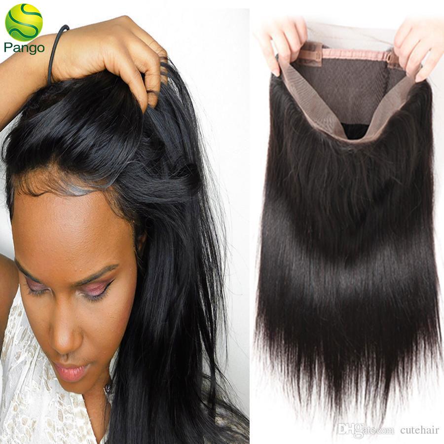 360 Lace Frontal Closure Virgin Hair Straight 150 Density Human Hair Natural Black With Baby Hair Pango
