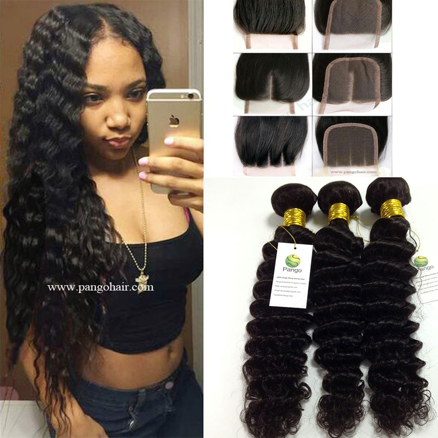 9a Human Hair Deep Wave 3 Bundles With Closure 100 Unprocessed
